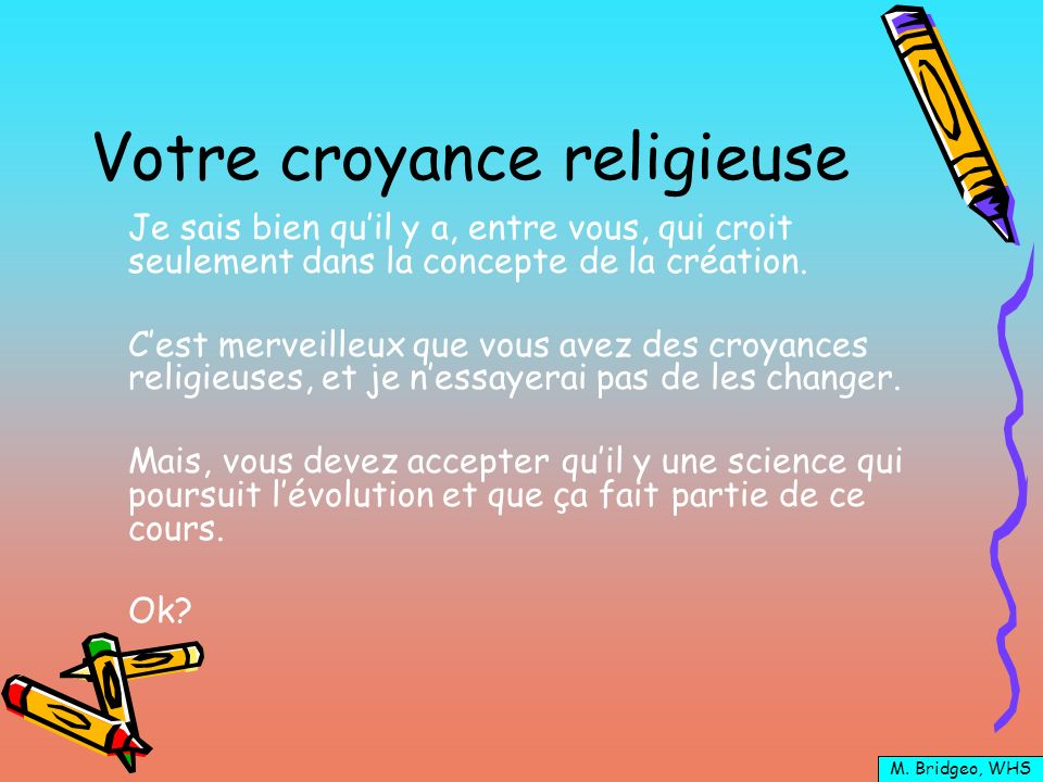 Votre croyance religieuse
