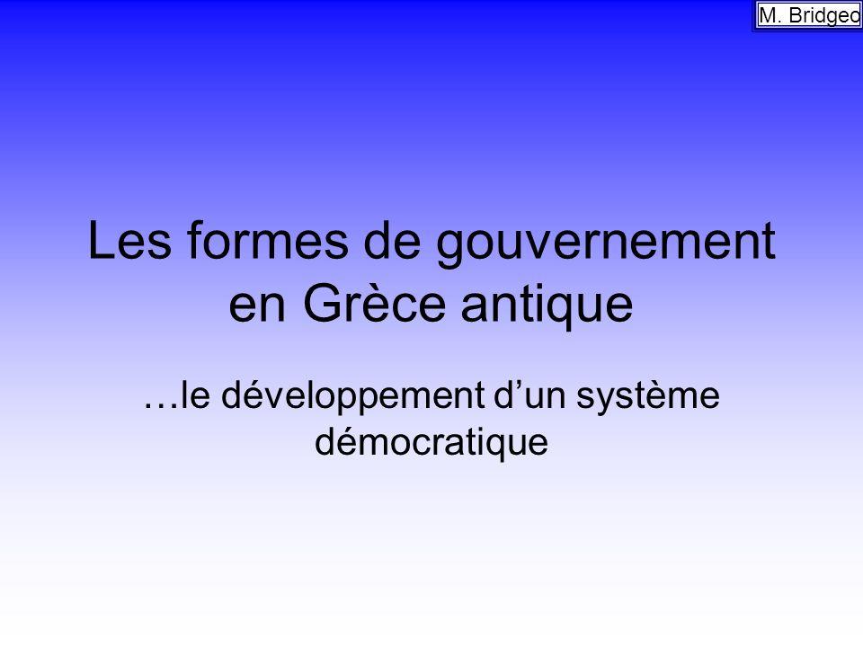 Les formes de gouvernement en Grèce antique
