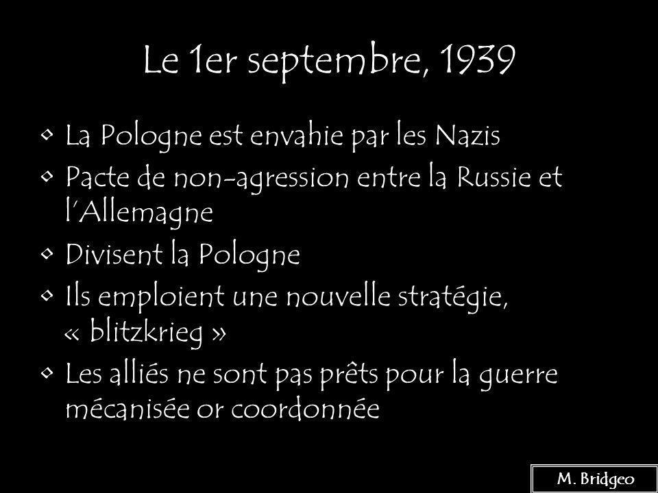 Le 1er septembre, 1939 La Pologne est envahie par les Nazis