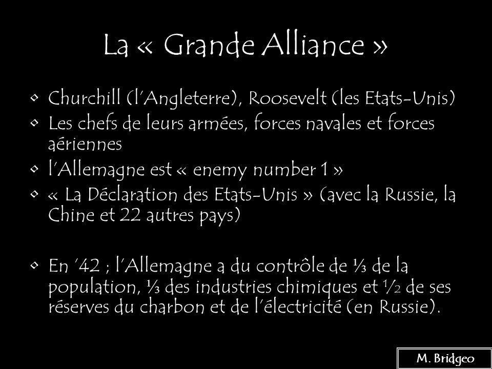 La « Grande Alliance » Churchill (l'Angleterre), Roosevelt (les Etats-Unis) Les chefs de leurs armées, forces navales et forces aériennes.