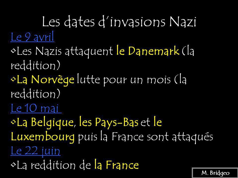 Les dates d'invasions Nazi