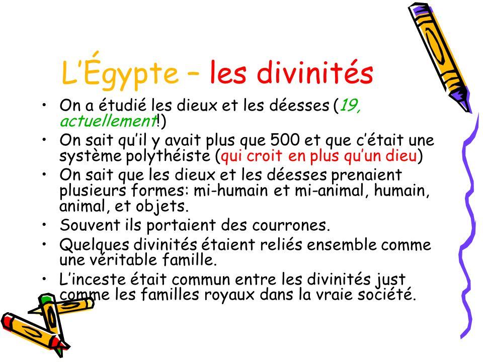 L'Égypte – les divinités