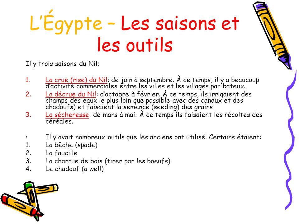 L'Égypte – Les saisons et les outils