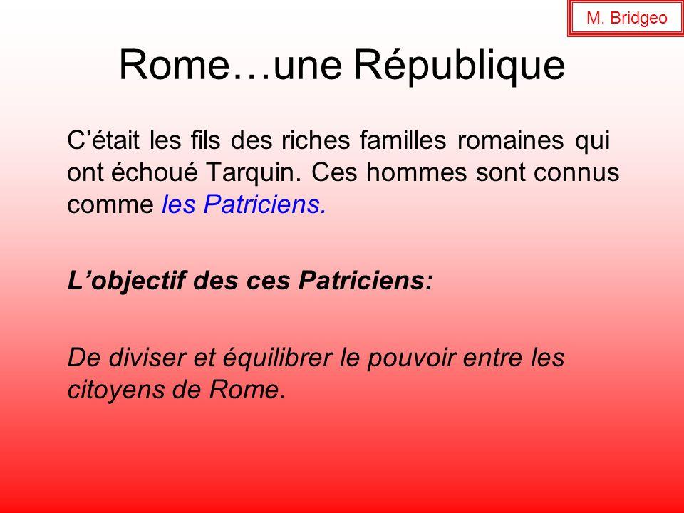 M. BridgeoRome…une République. C'était les fils des riches familles romaines qui ont échoué Tarquin. Ces hommes sont connus comme les Patriciens.
