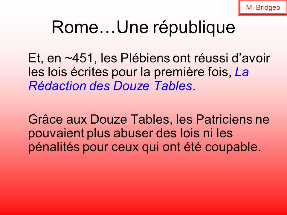 M. Bridgeo Rome…Une république. Et, en ~451, les Plébiens ont réussi d'avoir les lois écrites pour la première fois, La Rédaction des Douze Tables.