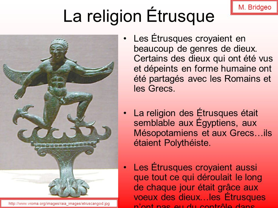 M. Bridgeo La religion Étrusque.