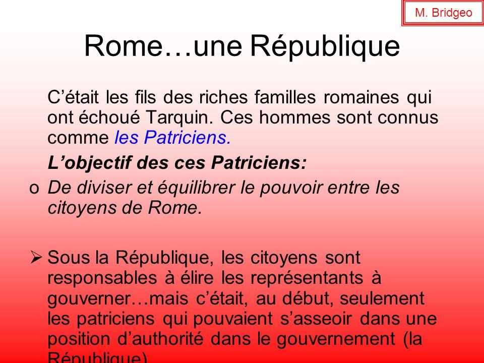M. Bridgeo Rome…une République. C'était les fils des riches familles romaines qui ont échoué Tarquin. Ces hommes sont connus comme les Patriciens.