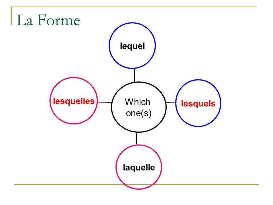 La Forme lesquelles laquelle lesquels lequel Which one(s)