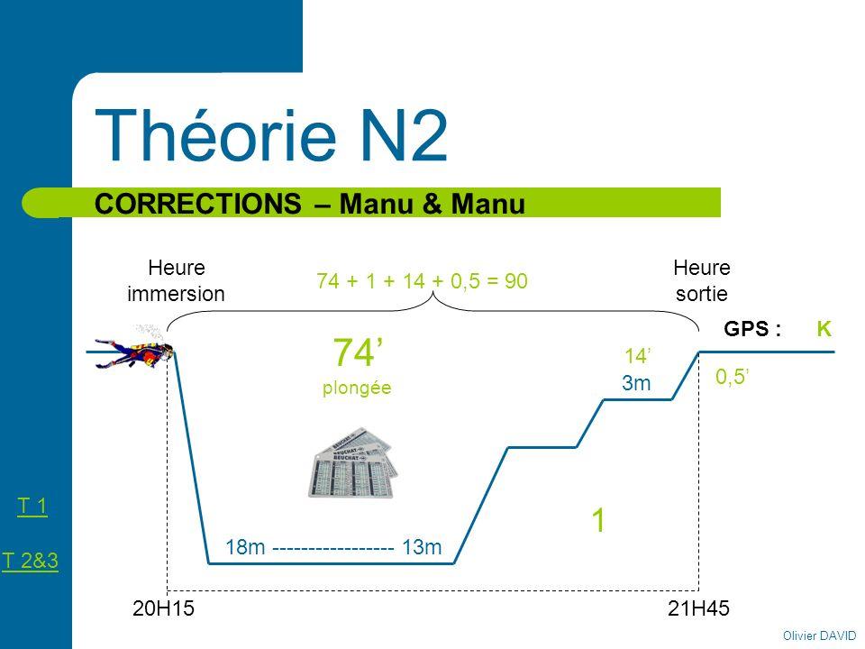 Théorie N2 74' plongée 1 CORRECTIONS – Manu & Manu Heure immersion