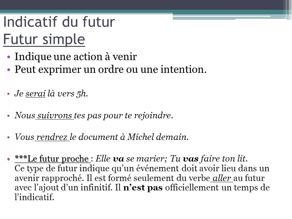 Indicatif du futur Futur simple