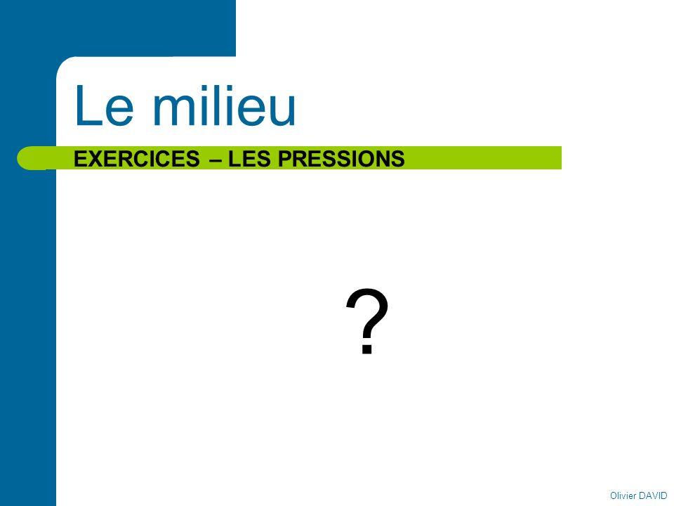 Le milieu EXERCICES – LES PRESSIONS Olivier DAVID