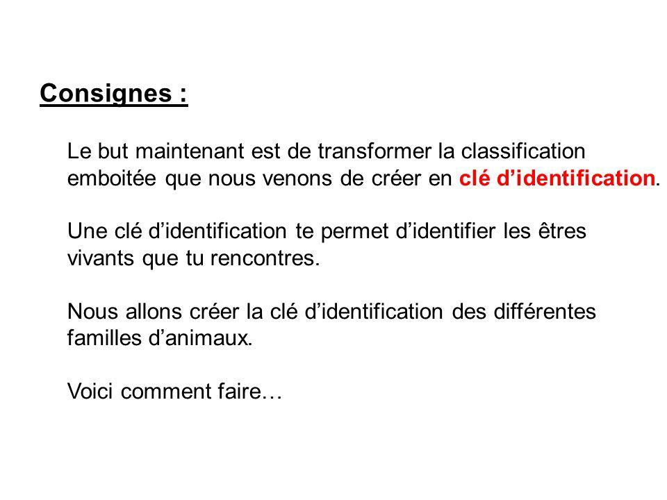 Consignes :Le but maintenant est de transformer la classification emboitée que nous venons de créer en clé d'identification.