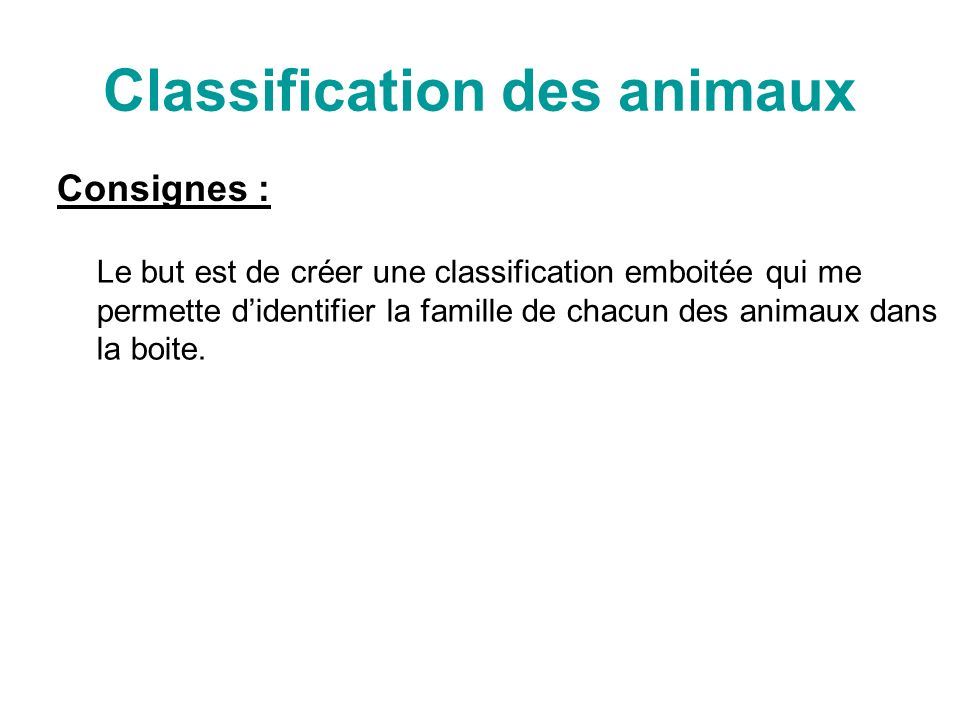 Classification des animaux