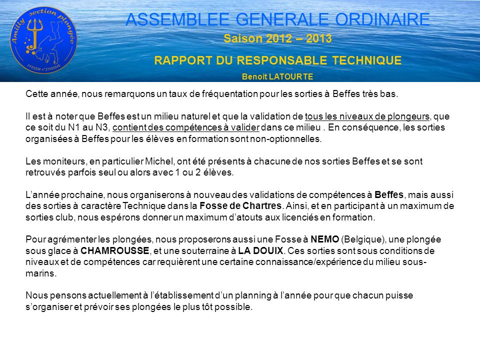RAPPORT DU RESPONSABLE TECHNIQUE
