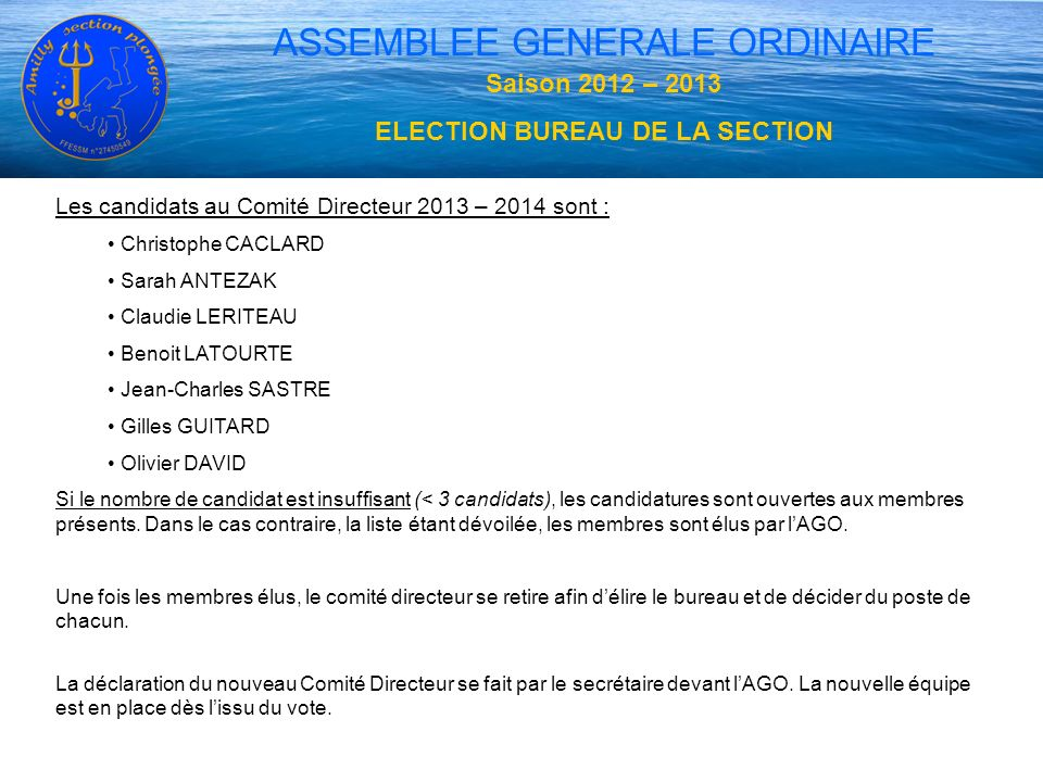 ELECTION BUREAU DE LA SECTION