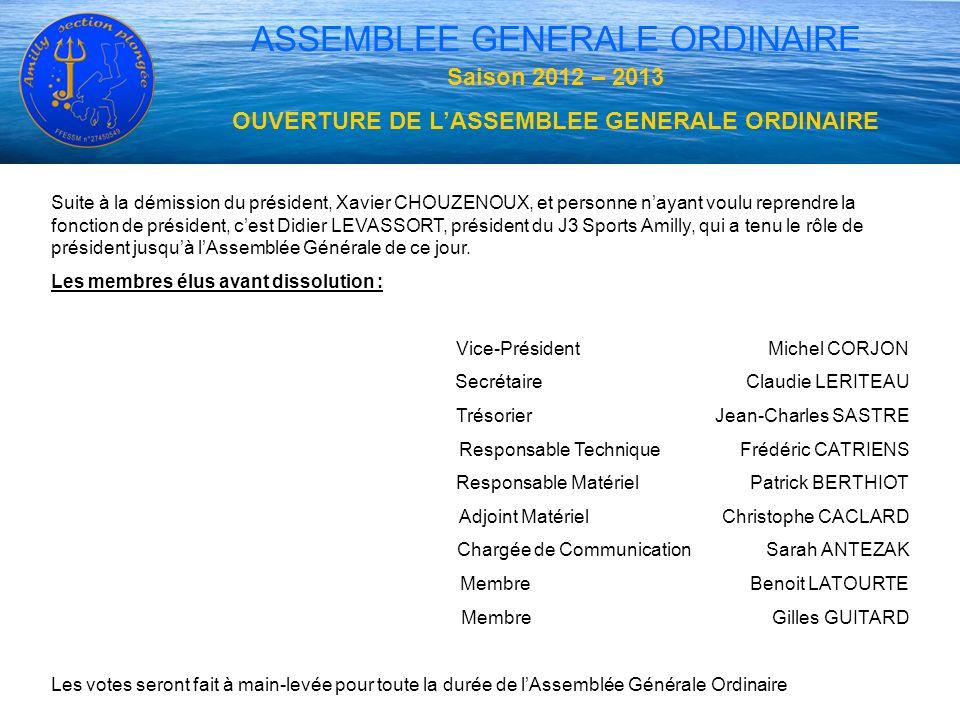 OUVERTURE DE L'ASSEMBLEE GENERALE ORDINAIRE