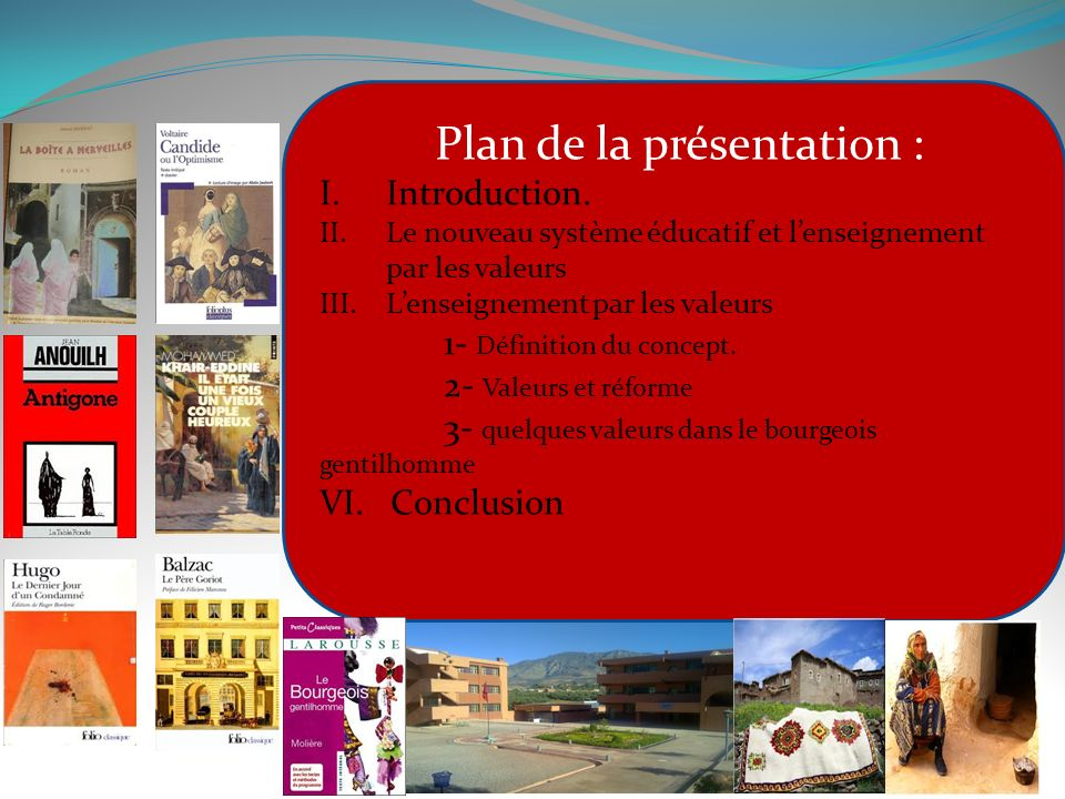 Plan de la présentation : Introduction.