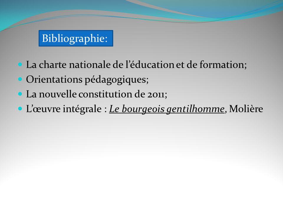 Bibliographie: La charte nationale de l'éducation et de formation;