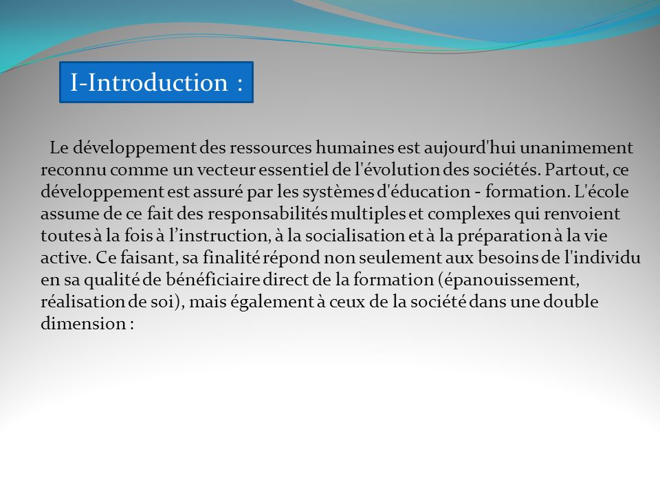 I-Introduction :