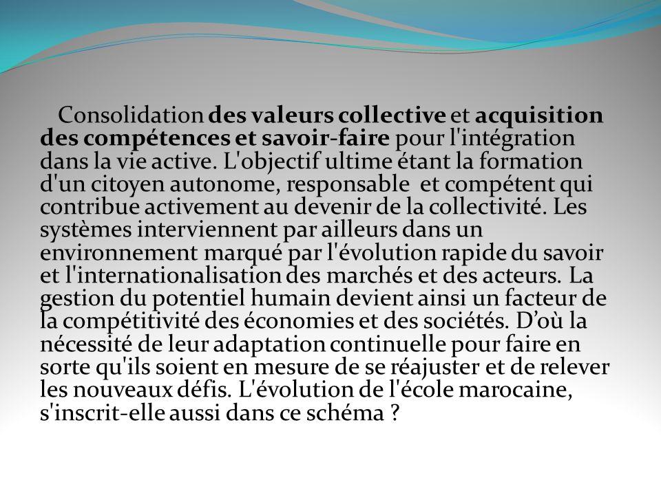 Consolidation des valeurs collective et acquisition des compétences et savoir-faire pour l intégration dans la vie active.