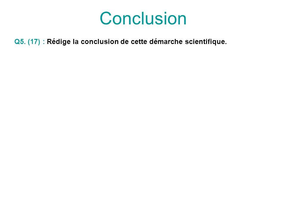 Conclusion Q5. (17) : Rédige la conclusion de cette démarche scientifique.