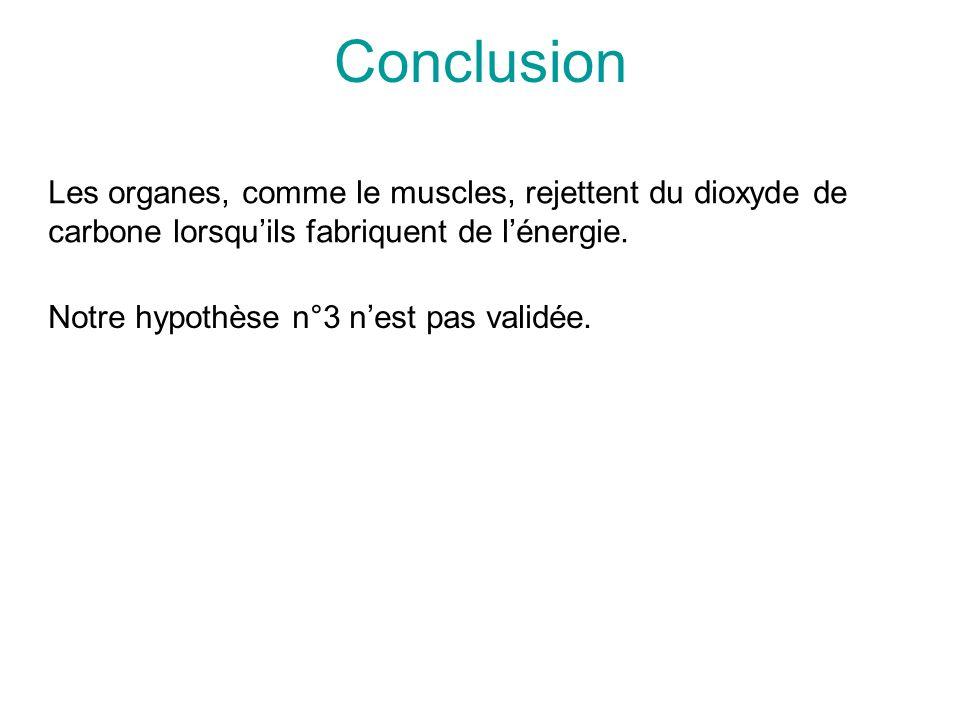 Conclusion Les organes, comme le muscles, rejettent du dioxyde de carbone lorsqu'ils fabriquent de l'énergie.