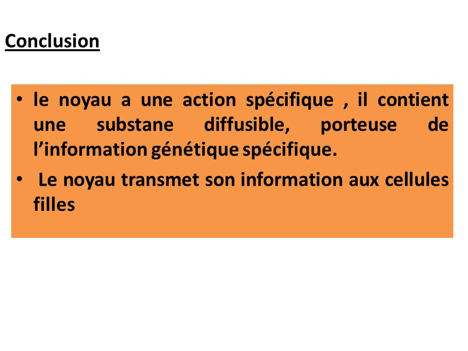 Conclusion le noyau a une action spécifique , il contient une substane diffusible, porteuse de l'information génétique spécifique.