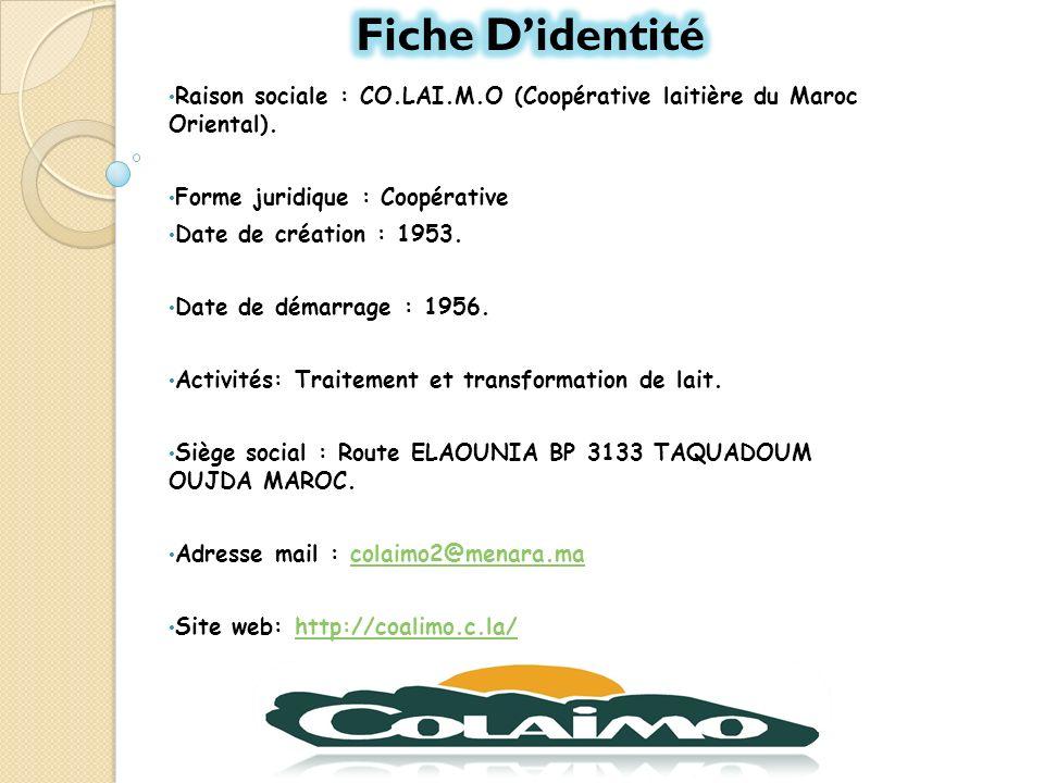 Fiche D'identité Raison sociale : CO.LAI.M.O (Coopérative laitière du Maroc Oriental). Forme juridique : Coopérative.