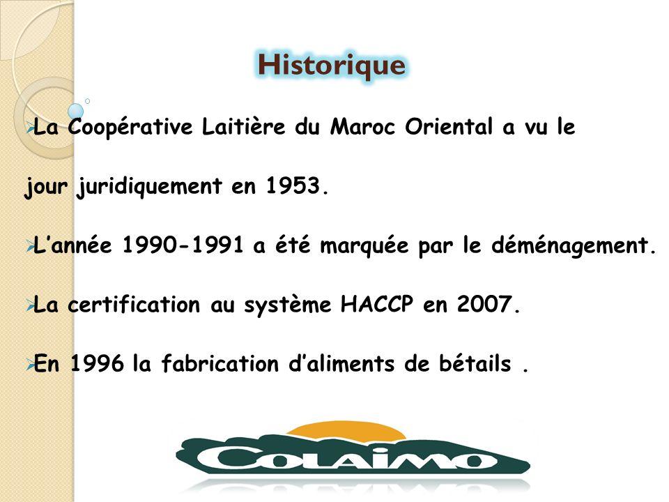 Historique La Coopérative Laitière du Maroc Oriental a vu le