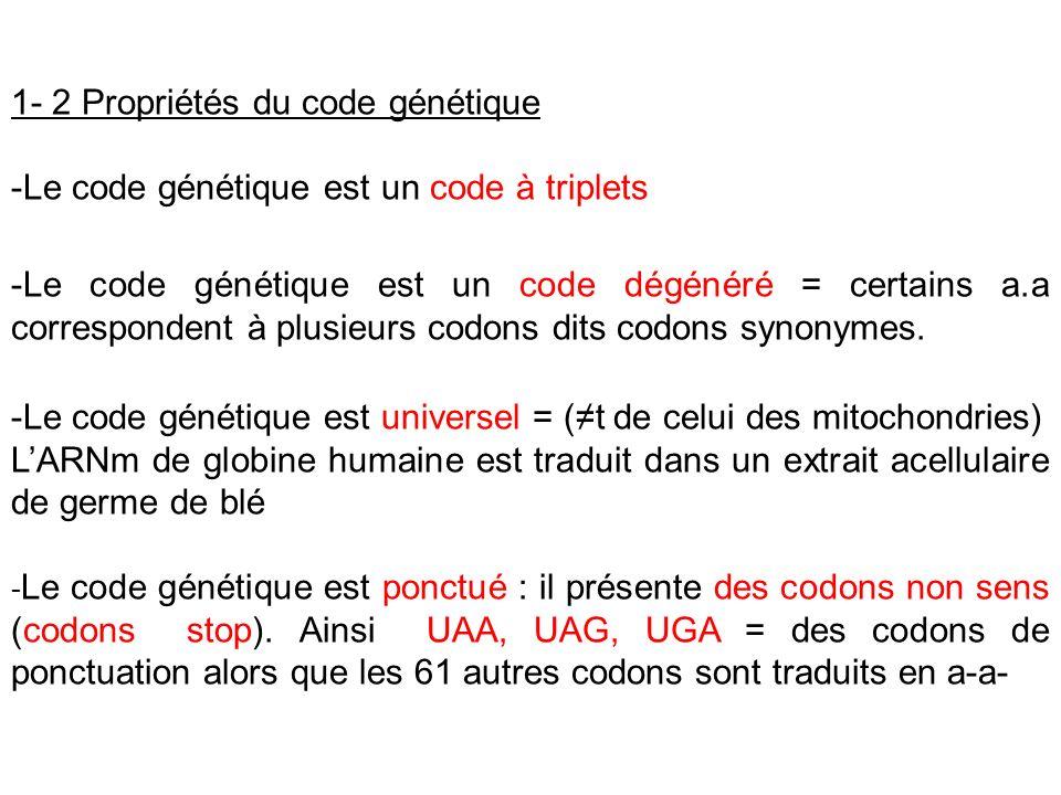 1- 2 Propriétés du code génétique