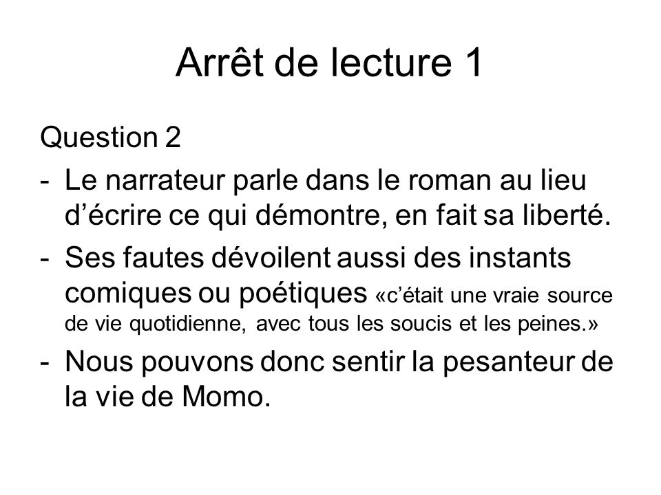 Arrêt de lecture 1 Question 2