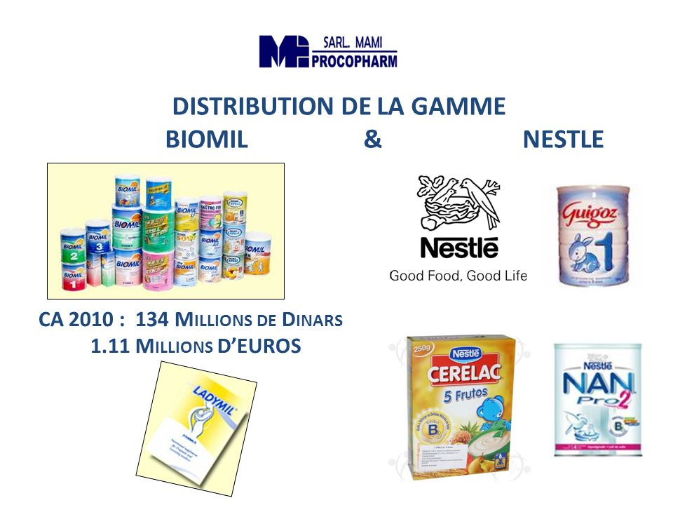 DISTRIBUTION DE LA GAMME BIOMIL & NESTLE