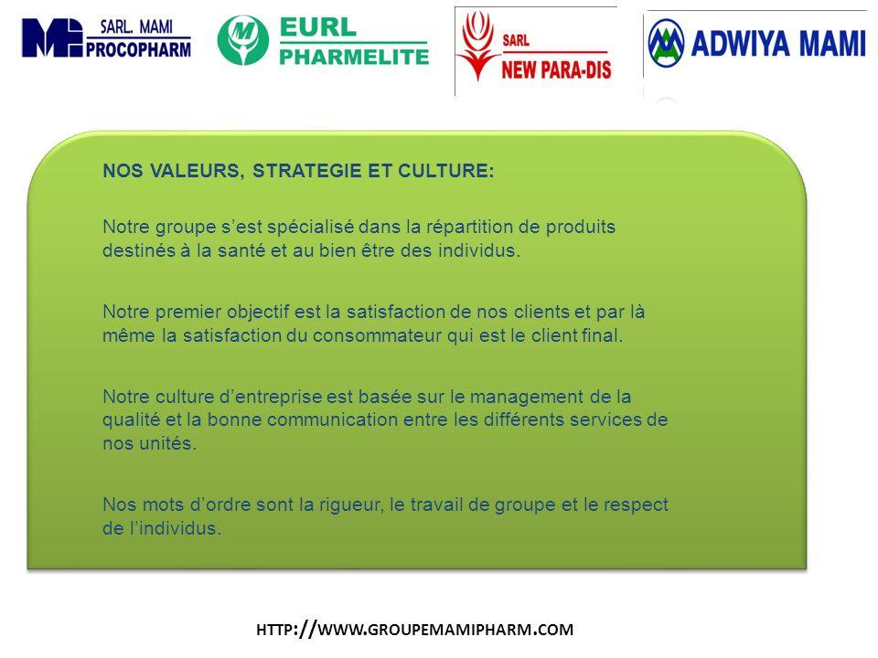 http://www.groupemamipharm.com NOS VALEURS, STRATEGIE ET CULTURE: