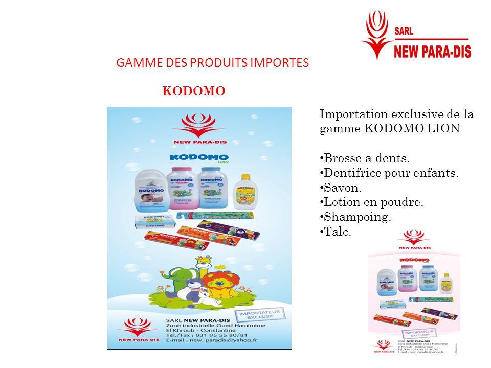 GAMME DES PRODUITS IMPORTES