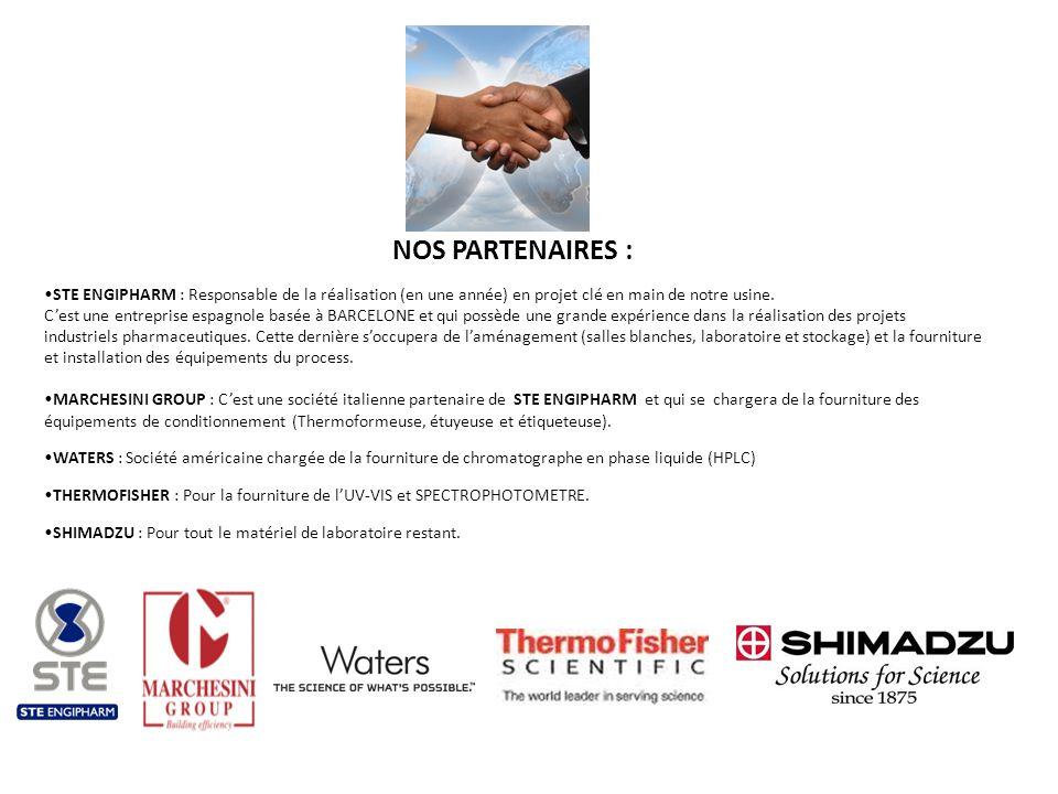 NOS PARTENAIRES : STE ENGIPHARM : Responsable de la réalisation (en une année) en projet clé en main de notre usine.