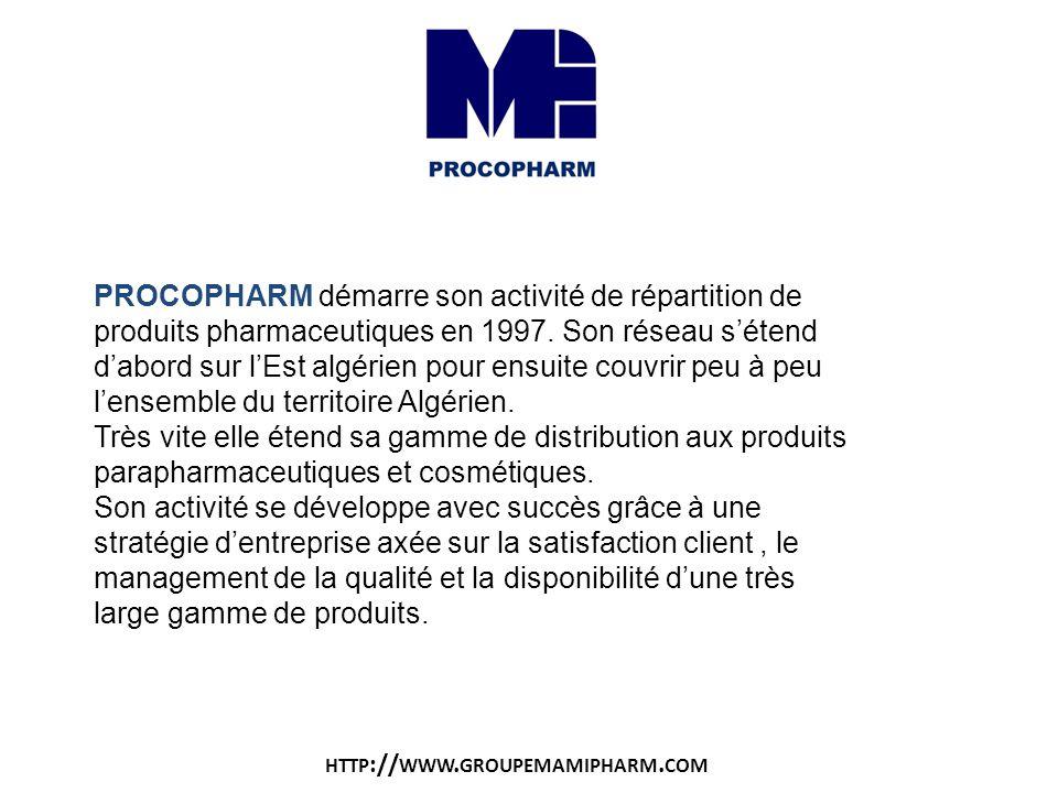 PROCOPHARM démarre son activité de répartition de produits pharmaceutiques en 1997. Son réseau s'étend d'abord sur l'Est algérien pour ensuite couvrir peu à peu l'ensemble du territoire Algérien.