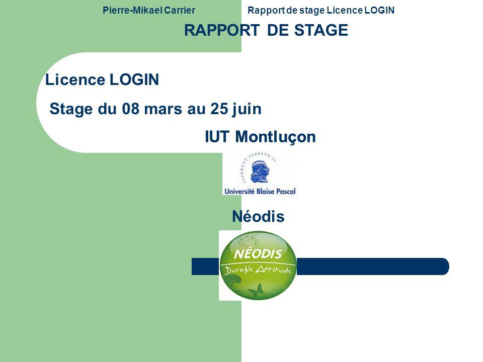 RAPPORT DE STAGE Licence LOGIN Stage du 08 mars au 25 juin IUT Montluçon IUT Montluçon Néodis