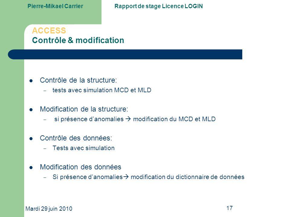 ACCESS Contrôle & modification