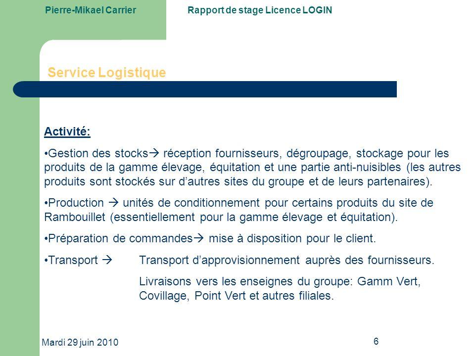 Service Logistique Activité: