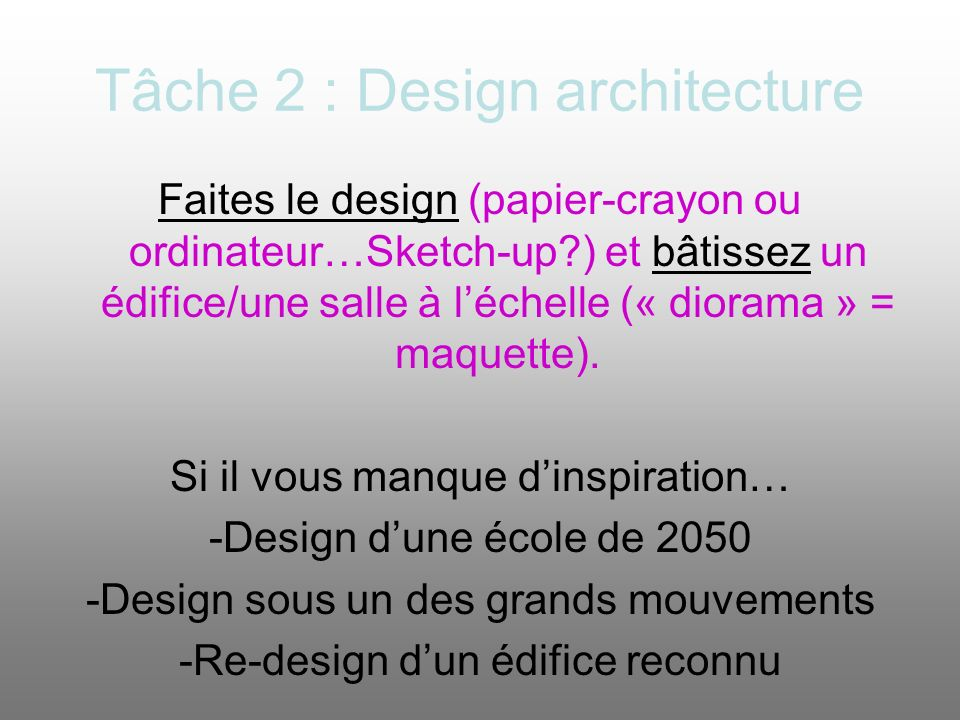 Tâche 2 : Design architecture