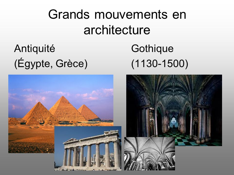 Grands mouvements en architecture