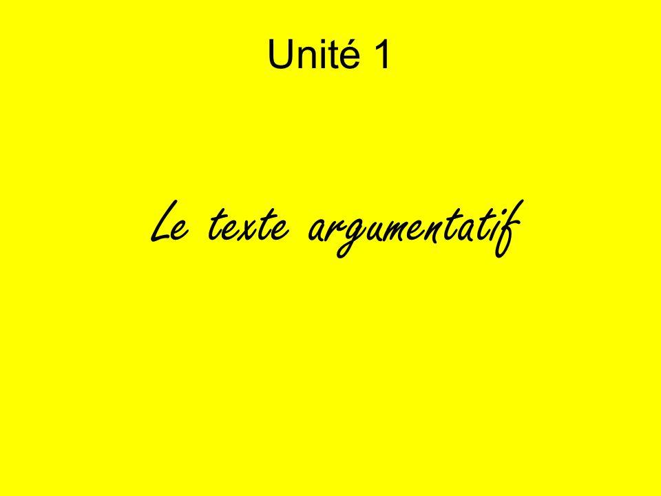 Unité 1 Le texte argumentatif