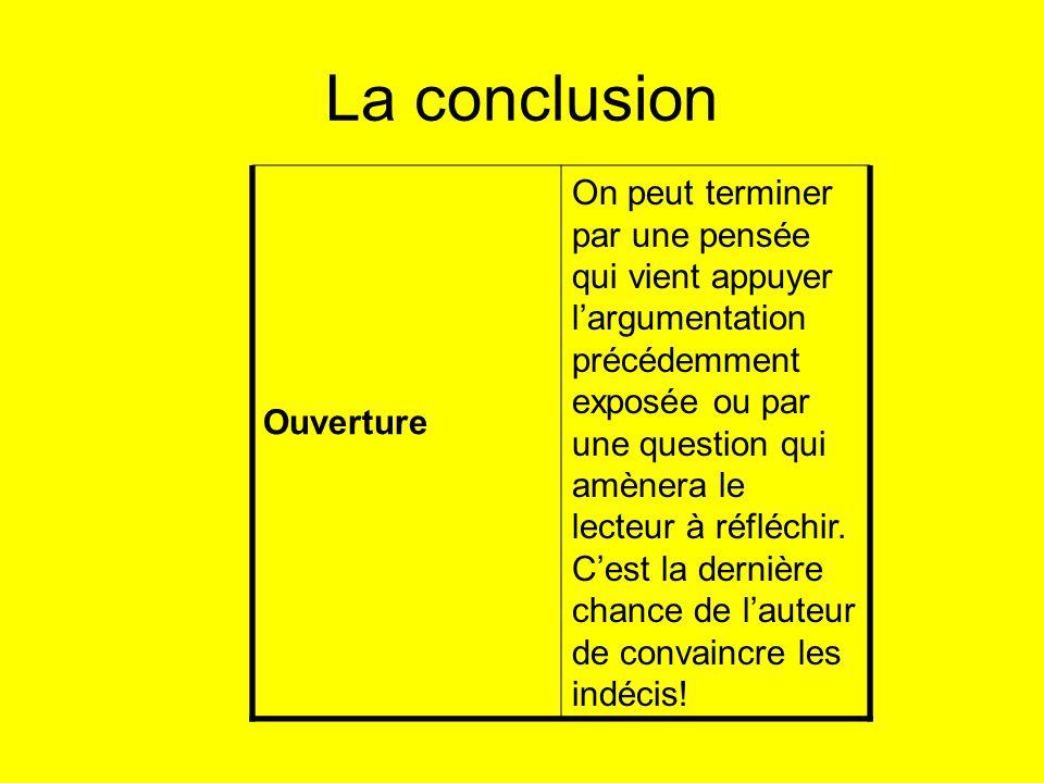 La conclusion Ouverture.