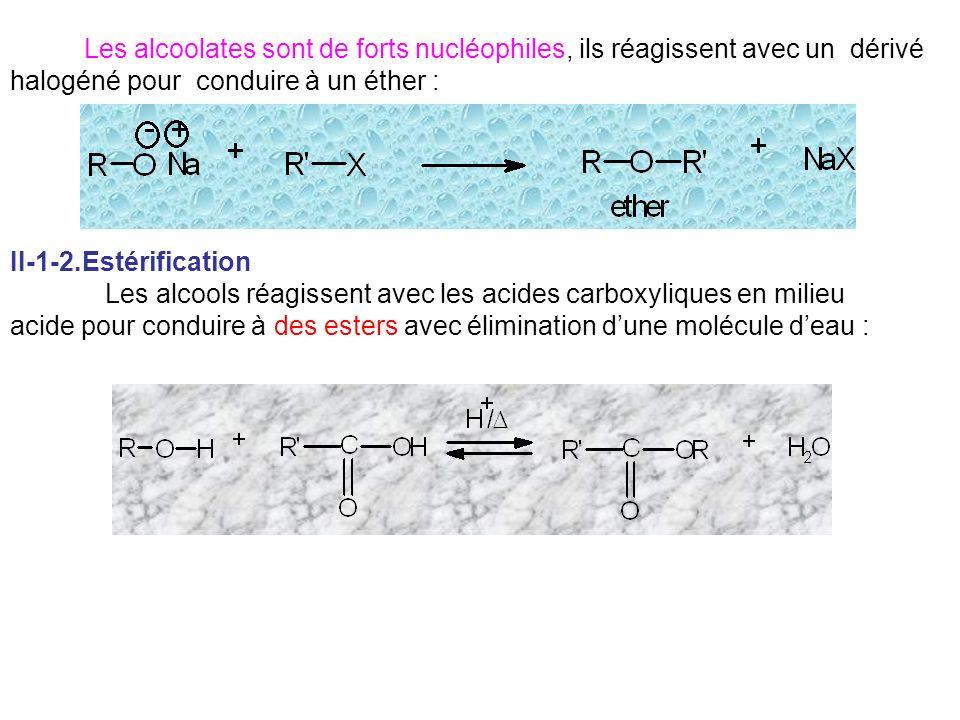 Les alcoolates sont de forts nucléophiles, ils réagissent avec un dérivé halogéné pour conduire à un éther :