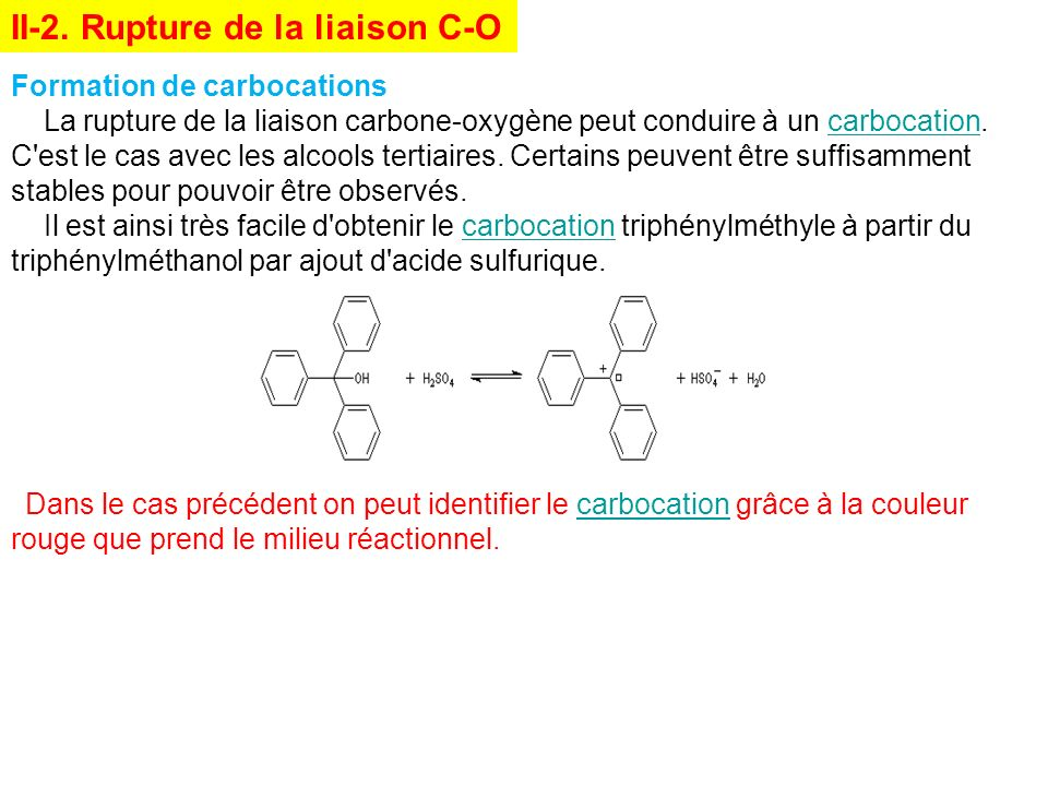 II-2. Rupture de la liaison C-O