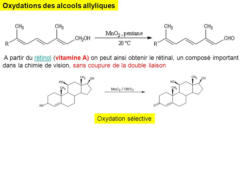 Oxydations des alcools allyliques