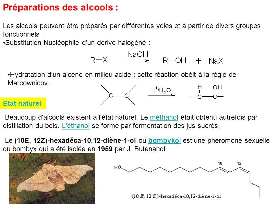 Préparations des alcools :