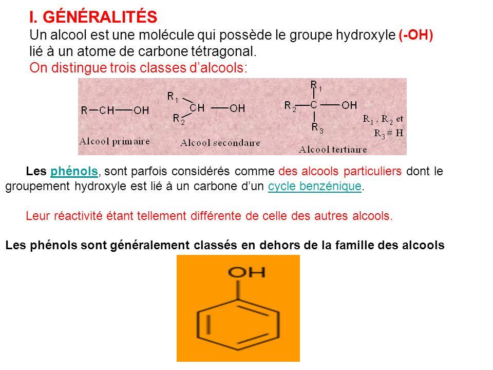 I. GÉNÉRALITÉS Un alcool est une molécule qui possède le groupe hydroxyle (-OH) lié à un atome de carbone tétragonal.