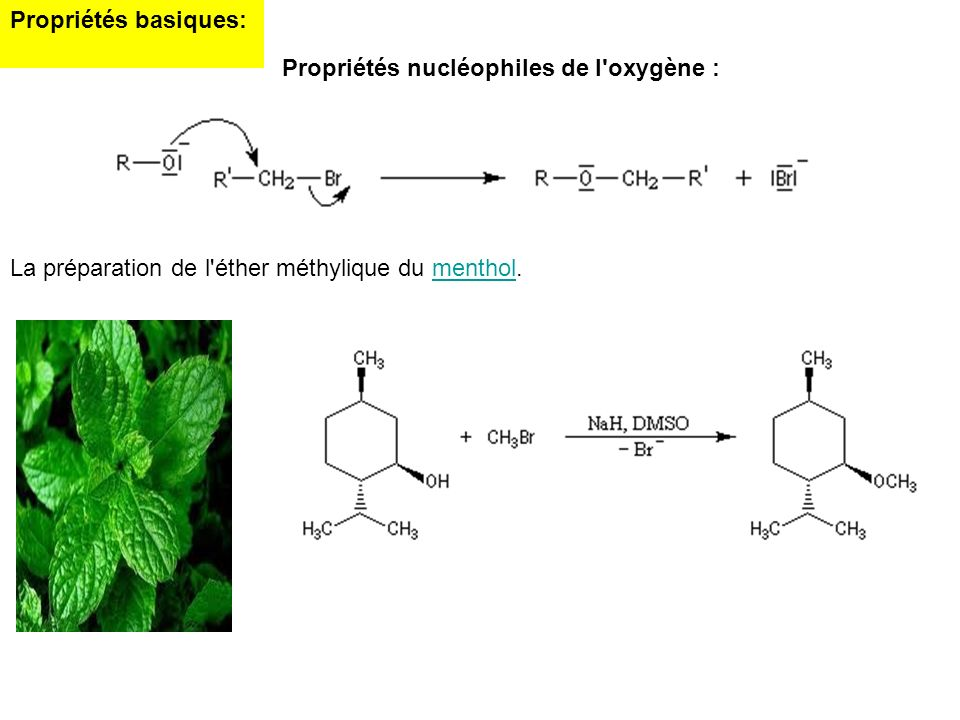 Propriétés basiques:Propriétés nucléophiles de l oxygène : La préparation de l éther méthylique du menthol.