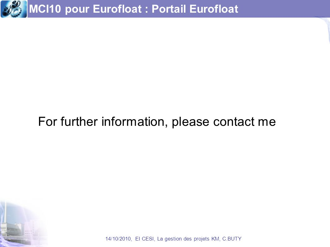MCI10 pour Eurofloat : Portail Eurofloat
